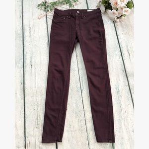 Rag & Bone 28 burgundy jeans skinny leggings slim